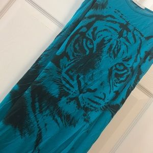 Dresses - 3 for $25 Turquoise high/low tiger dress